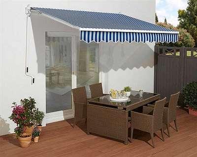 °Abverkauf° Gelenkarmmarkise 350 / 200 cm blau / weiß Sonnenschutz Markise Camping Terrasse Sichtschutz 85659501