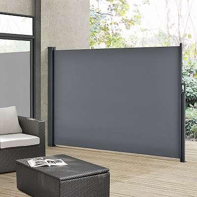 Seitenmarkise 300 x 180 cm dunkelgrau Markise Gartenmarkise Sichtschutz JU25412