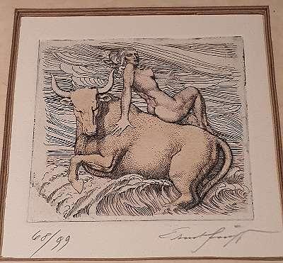 Ernst Fuchs Radierung Europa auf dem Stier