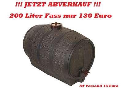 NEU Fass 200 Liter Getränkefass Weinfass Mostfass Schnapsfass Gärfass Barriquefass Rum Holzfass Eichenfass Optik super Geschenk
