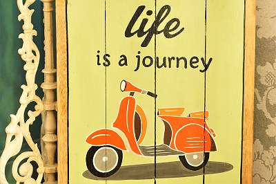 HANDARBEIT! Holzschild im Vintagelook! Life is a Journey! Tafel Wandbehang Bild Spruch Text Geschenk Wunsch Einweihung Wohnung Mitbringsel Motorrad Roller Moped
