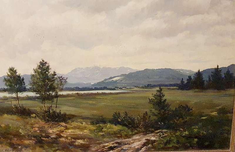 Am ISARBOGEN bei BAD TÖLZ in Bayern von MAX HEICHELE Münchner Maler