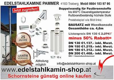 Edelstahlkamin mit 45 Grad T-Anschluß, 50% Rabatt , österreichischer Shop