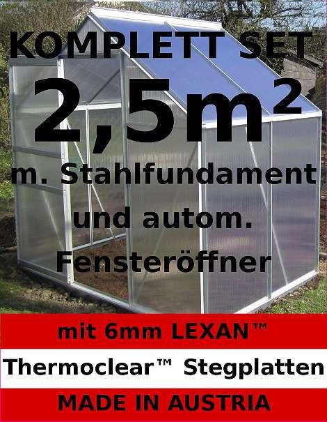 komplettset 2 5m alu aluminium gew chshaus glashaus tomatenhaus 6mm 375 99 4631. Black Bedroom Furniture Sets. Home Design Ideas