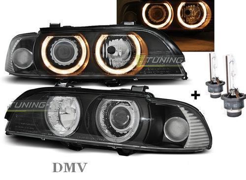 neu bmw e39 angel eyes xenon scheinwerfer set schwarz d2s. Black Bedroom Furniture Sets. Home Design Ideas