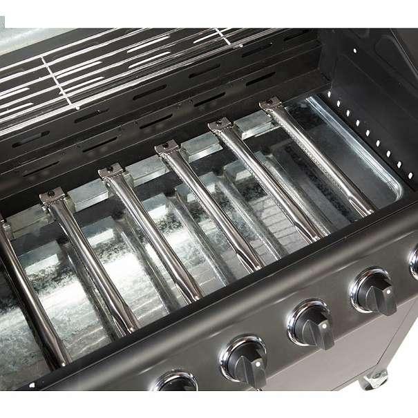 gasgrill bbq grau grillwagen 6 edelstahl brenner gas grill. Black Bedroom Furniture Sets. Home Design Ideas