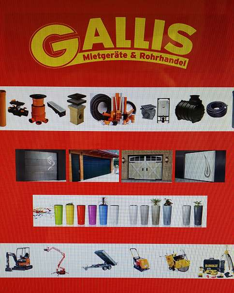 Sanitärhandel  Gallis Mietgeräte und Rohrhandel Sanitärhandel div. Baumaterialien ...