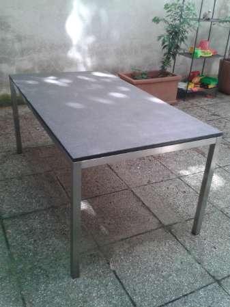 gartentisch mit dunkelgrauer granitplatte und edelstahl gestell 160 cm lang 90 cm breit 74. Black Bedroom Furniture Sets. Home Design Ideas