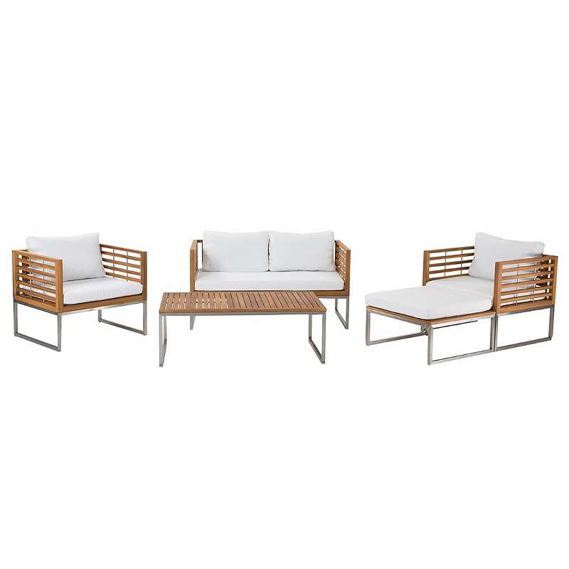 Gartenmobel Set Holz 4 Sitzer Auflagen Weiss Bermuda 989 99 1190