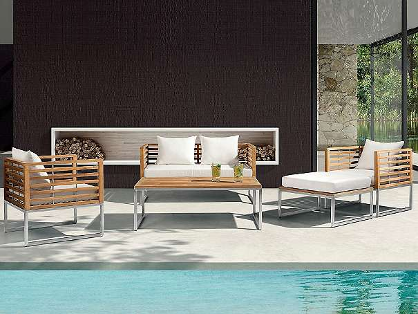 Gartenmobel Terrasse Gunstig : Edelstahl Gartenmöbel Set  Tisch  Sofa  2x Sessel  Ottoman