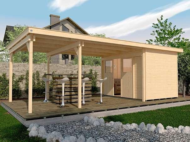 Gartenhaus Mit Lounge weka holz gartenhaus lounge-haus 225b gr.2 - 21mm natur 299+450