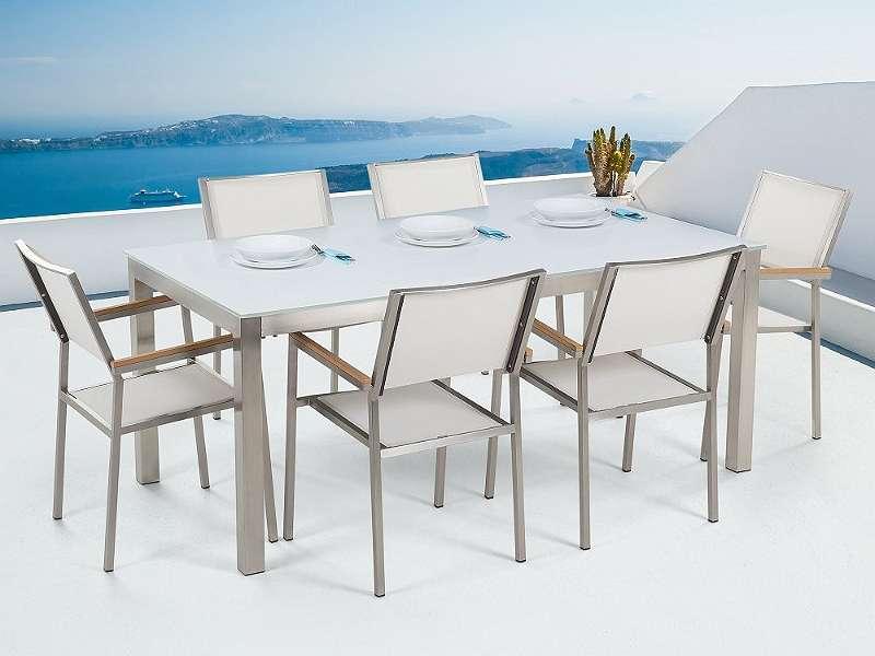 Gartenmöbel Set Glasplatte weiss 180 x 90 cm 6-Sitzer Stühle ...