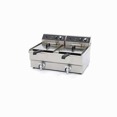 Profi Gastronomie Doppel Kaltzonen Fritteuse (2 x 16 Liter Volumen für max. 2 x 11 Liter Öl) Starkstrom und Normales Strom