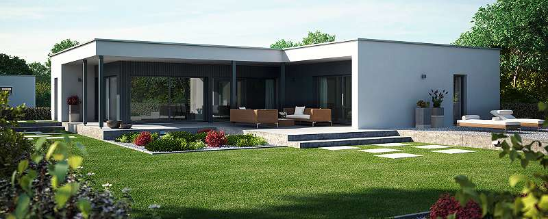 luxeri s und kompakt bungalow mit garage in kologischer moderner bauweise nat rlich von kampa. Black Bedroom Furniture Sets. Home Design Ideas