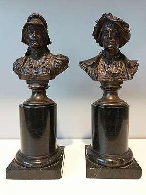 Paar Bronzebüsten