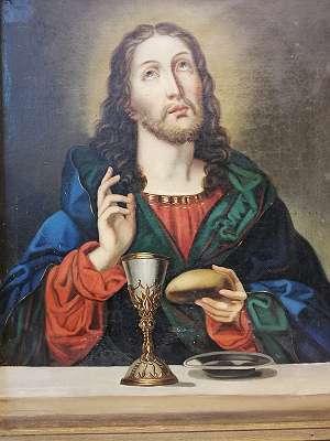 Ölbild- Christus mit Kelch, Brot u. Patene