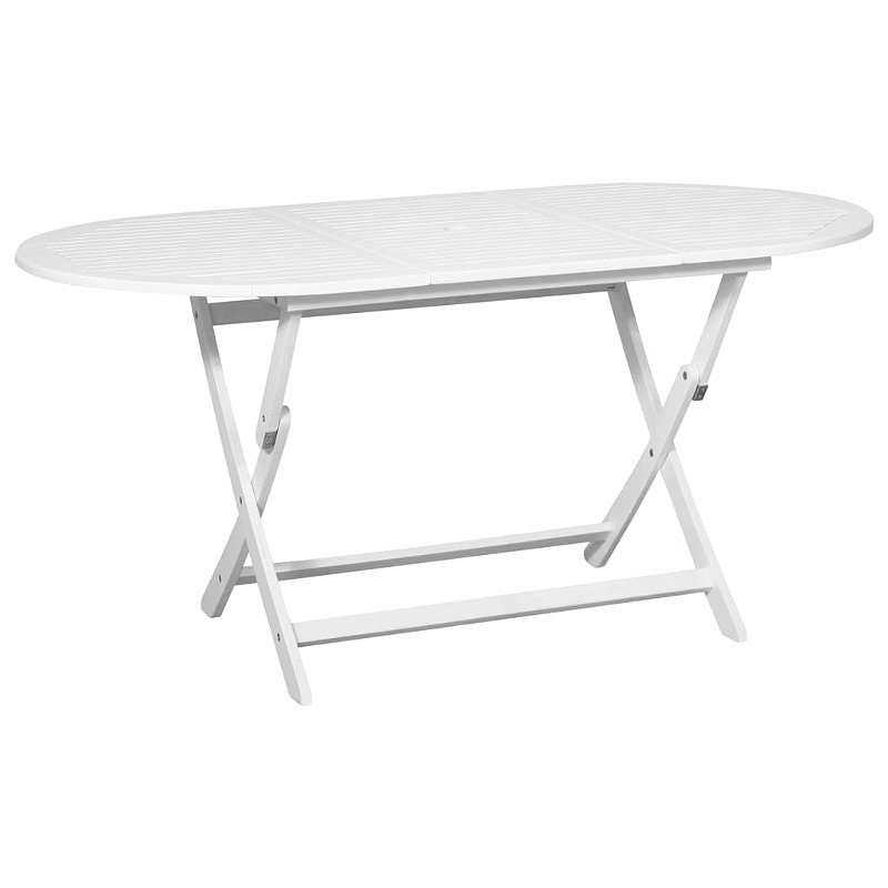 Esstisch oval weiß  NEU vidaXL Garten-Esstisch Oval Weiß 160 x 85 x 75 cm Akazienholz