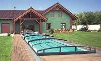 Top Angebot Edel Poolüberdachung Vollglas - Schiebedach - Schwimmbadüberdachung - Pooldach 860x500x70cm