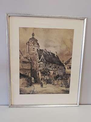 Aquarell , Der Weisse Turm in Rothenburg ob der Tauber