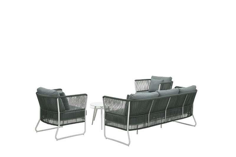 Hartley Loungeset 5-teilig - weiß/ Rope moosgrün Sitzgruppe Gartenmöbel Tisch Stuhl Sessel GI58100EG