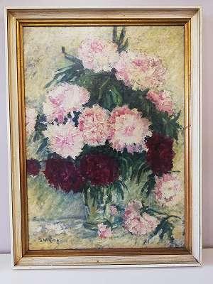 J. Wilfing - Stilleben mit Rosa und Roten Blumen