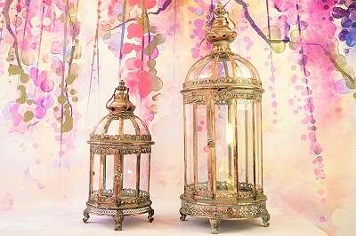 Riesige Laterne aus Metall / Laternenset im Vintage Chic! Windlicht Stimmungslicht Kerze Laterne Licht Wohnzimmer Balkon Terrasse Windlicht zum Hängen und Stellen Glas Kerze