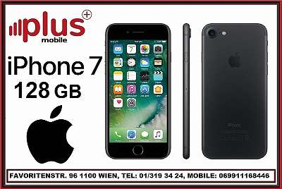 IPHONE 7 128GB SCHWARZ, GEBRAUCHT, GUTE ZUSTAND, WERKSOFFEN, GARANTIE, PLUS MOBILE !