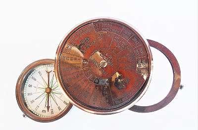 Kompass mit Lupe und 40 jährigem Kalender