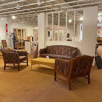 Vintage Sitzgruppe 'Form 75' aus unserer damaligen Ausstellung 1 Sofa B 170 cm 2 Fauteuils Stoff 'Gabriel'