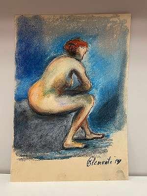 Frauenakt auf Stein sitzend - K. Clemente *