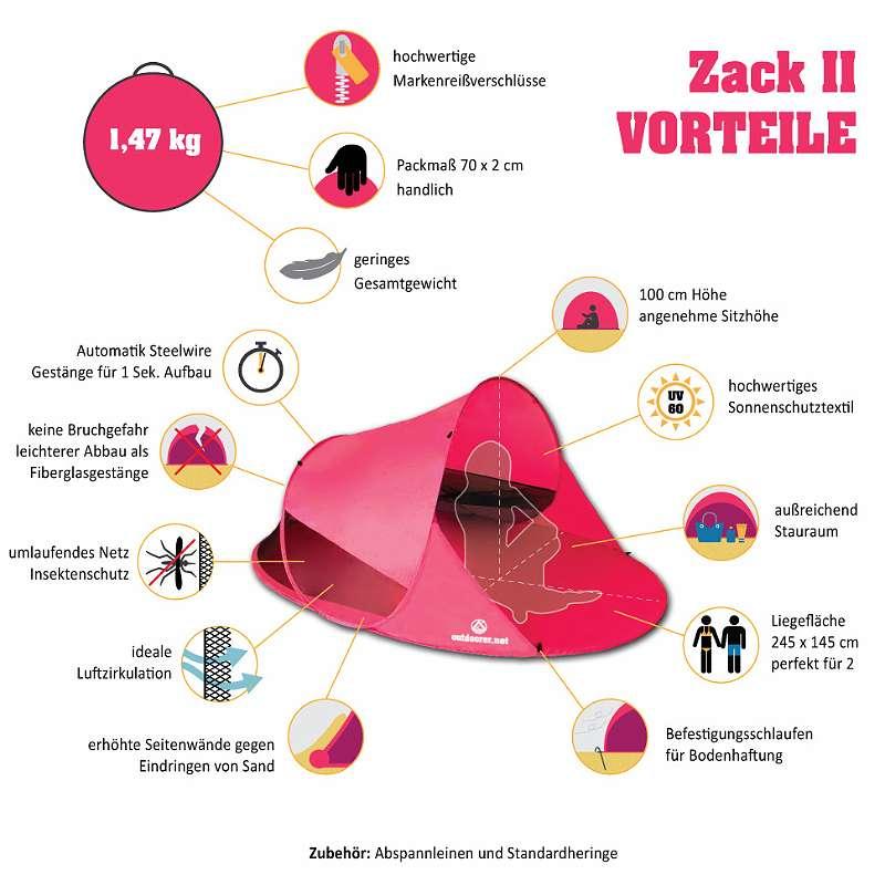 Pop up Strandmuschel Zack II Vorteile
