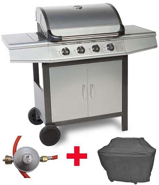 aktion sparset gasgrill bbq grillwagen 4 edelstahl brenner gas zubeh r grau silber 229. Black Bedroom Furniture Sets. Home Design Ideas