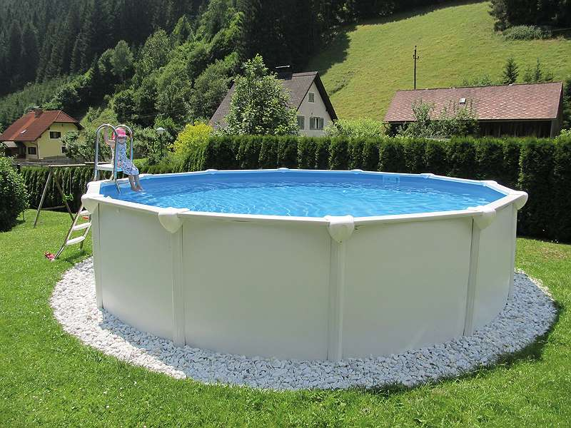 Steirerbecken Pool Supreme Clever Stahlwandbecken Weiss Rund Oder