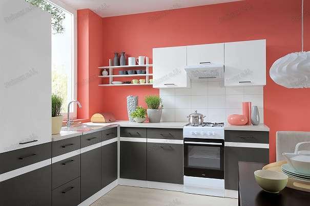 neue küche 240cm in der farbe weiß glanz - grau wolfram