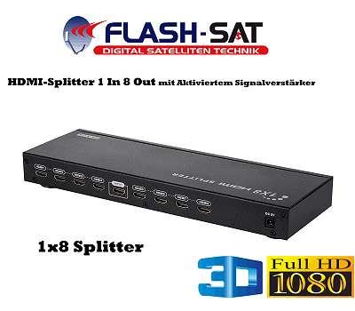 HDMI Splitter 1 In 8 Out Mit Aktiviertem Signalverstärker