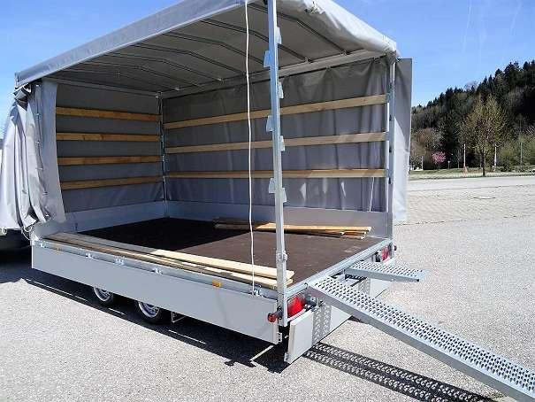 Hochlader Autotransporter 406cm Multitransporter mit Schiebeplane Auffahrrampen Seilwinde KK ANHAENGER