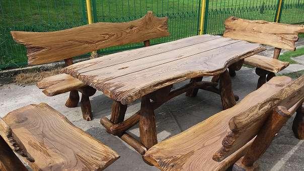 Rustikal handgemacht sitzgruppe vollholz holz for Gartengarnitur holz massiv