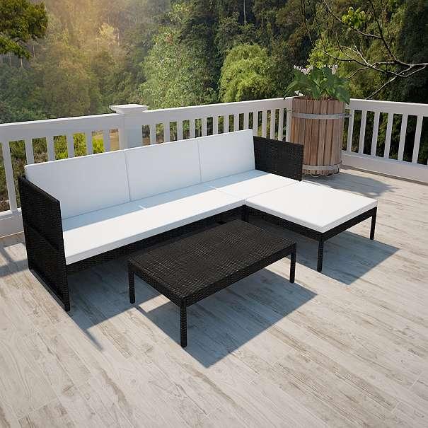 vidaxl poly rattan gartenmöbel lounge set 3-sitzer schwarz, € 198, Gartenmöbel