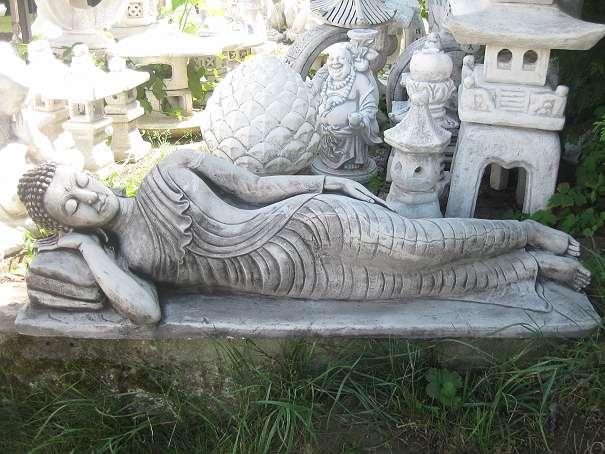 Xxl buddha 115 cm steinfigur seitlich liegend japanischer for Steinfigur buddha garten