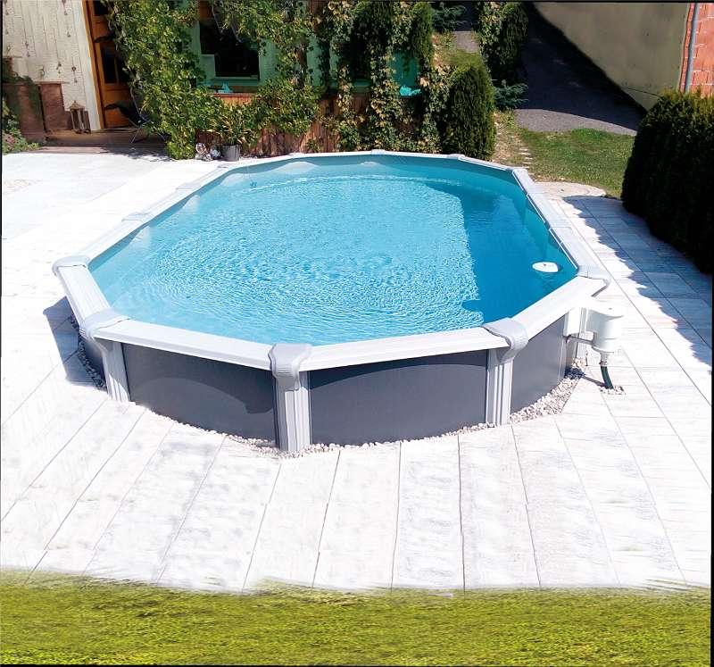 Steirerbecken Pool Design Anthrazit Stahlwandbecken rund ...