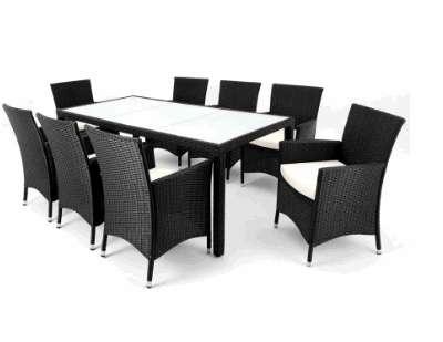 17tlg Rattan Sitzgruppe mit Kissen in Schwarz 8+1, € 489,90 (4631 ...