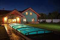 Top Angebot Edel Poolüberdachung Vollglas - Schiebedach - Schwimmbadüberdachung - Pooldach 646x390x55cm