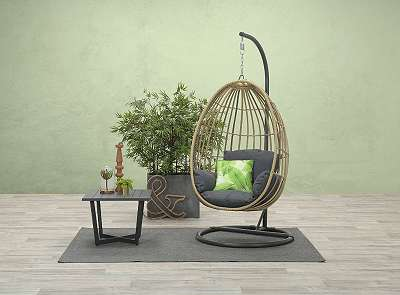 Panama Hängekorb carbon black / natural rotan / reflex black Swing & Relax Korb Hängestuhl Hängesessel GI10950GS