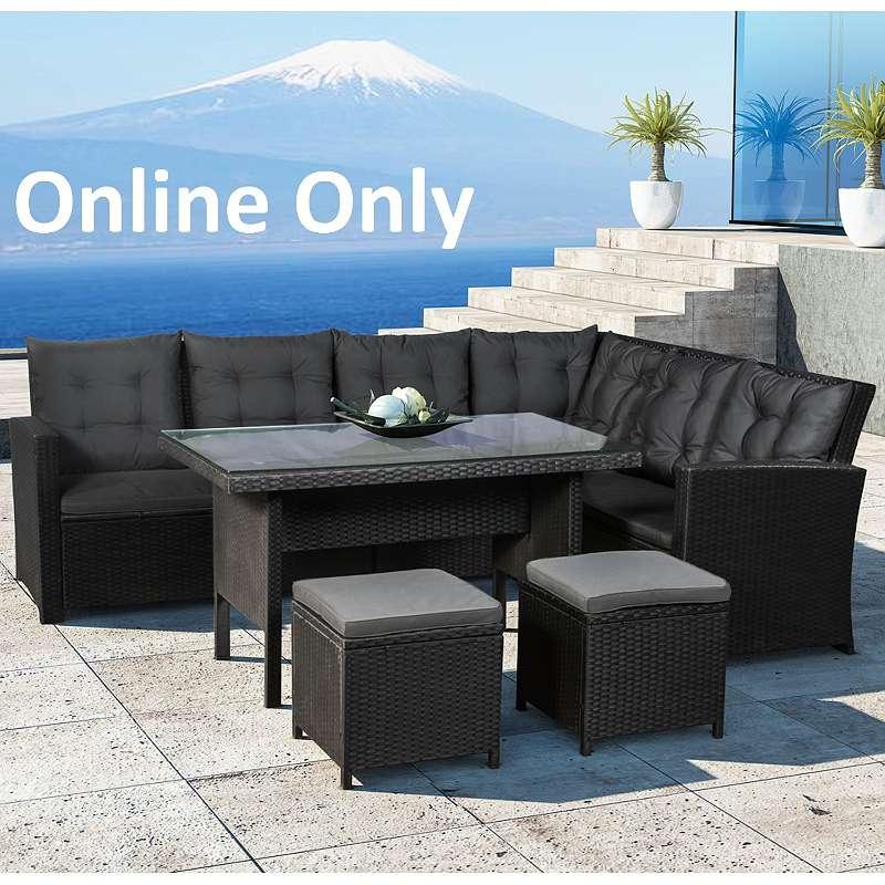 Poly Rattan Sitzgruppe Gartenmöbel Garnitur Lounge Schwarz Bezüge