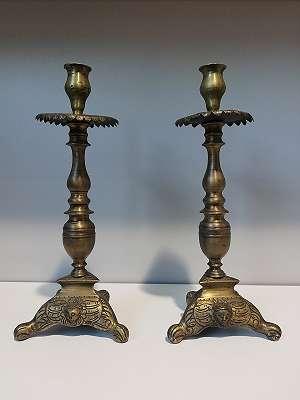 2 größere Bronzeleuchter