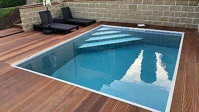 Winteraktion PP Pool mit Gegenstrom 7 x 3 x 1,5 m und Technik im Technikschach, Set 404