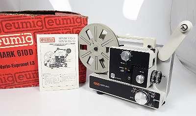 EUMIG MARK 610 D NORMAL 8 UND SUPER 8 FILMPROJEKTOR ORIGINALKARTON NEUWERTIG ! NEUE LAMPE - NEUER ANTRIEBSRIEMEN - MIT LEERSPULE