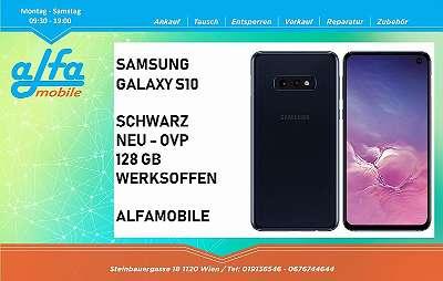 SAMSUNG GALAXY S10 SCHWARZ 128 GB SPEICHER , NEU - ORIGINAL VERPACKT , OFFEN FÜR ALLE NETZE , VOLLE HERSTELLER GARANTIE , ALFAMOBILE !