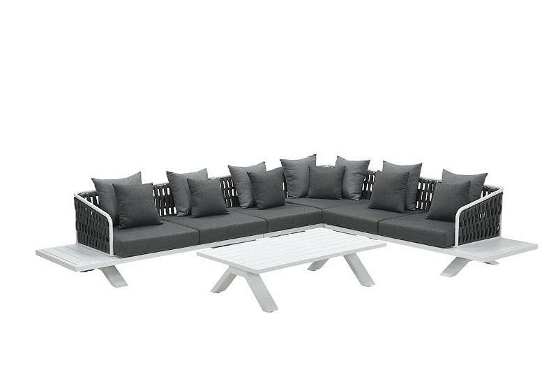 Finn Lounge Set 5-teilig white / rope mid grey / reflex black Gartenmöbel Sitzgruppe GI13950WF