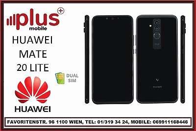 HUAWEI MATE 20 LITE 64GB DUAL SIM SCHWARZ, NEU, WERKSOFFEN, GARANTIE, PLUS MOBILE !